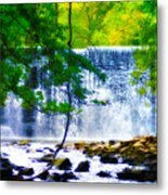 Below The Waterfall Metal Print