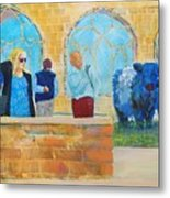 Belted Galloway Cows And People At Exeter Cathedral Metal Print