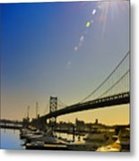 Ben Franklin Bridge From The Marina Metal Print