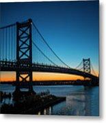 Ben Franklin Bridge In Philadelphia At Dawn Metal Print