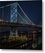 Ben Franklin Bridge In Philadelphia At Night Metal Print