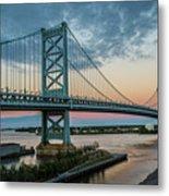 Ben Franklin Bridge In Philadelphia In The Early Morning Metal Print