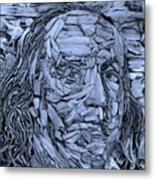 Ben In Wood Cyan Metal Print