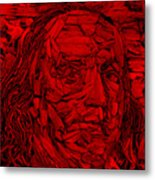 Ben In Wood Red Metal Print