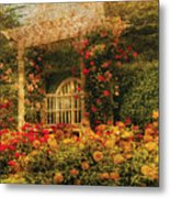 Bench - The Rose Garden Metal Print