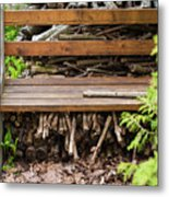 Bench And Wood Pile Metal Print