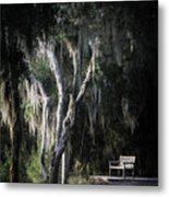 Bench At Sunset Metal Print