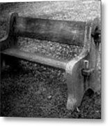 Bench By The Barn Metal Print