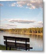 Bench By The Lake Metal Print