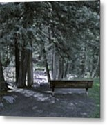 Bench By The Stream II Metal Print