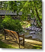 Bench By The Stream IIi Metal Print