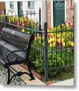 Bench By The Tulips Metal Print