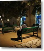 Bench For Reflection In The Night Metal Print