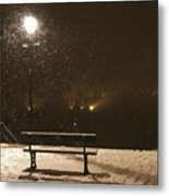 Bench For The Snowflakes Metal Print