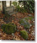 Bench In Fall Metal Print