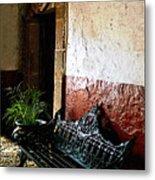 Bench In The Darkened Foyer Metal Print