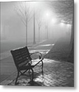Bench In The Mist Metal Print