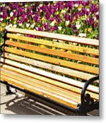 Bench In The Tulips Metal Print