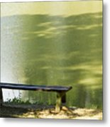 Bench On A Lake Metal Print