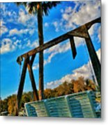 Bench On The River Metal Print