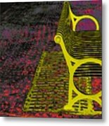 Bench With Gold Shadow Metal Print