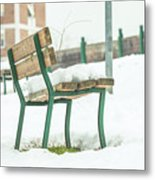 Bench With Snow Metal Print