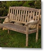 Bench With Stone Metal Print