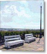 Benches Boardwalk And Lamppost 1 Metal Print