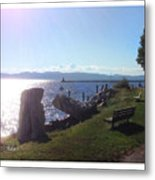 Benches Water Sun And Boat Metal Print
