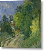 Bend In The Road Through The Forest Metal Print