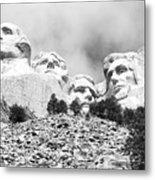 Beneath Mount Rushmore National Monument South Dakota Black And White Metal Print