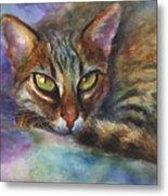 Bengal Cat Watercolor Art Painting Metal Print