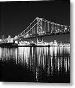 Benjamin Franklin Bridge - Black And White At Night Metal Print