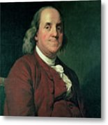 Benjamin Franklin Metal Print by Joseph Wright of Derby