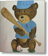 Benny Bear Baseball Metal Print