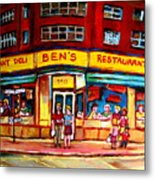 Ben's Delicatessen - Montreal Memories - Montreal Landmarks - Montreal City Scene - Paintings  Metal Print