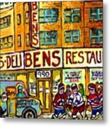 Ben's Famous Smoked Meat Montreal Memories Canadian Paintings Hockey Scenes And Landmarks  C Spandau Metal Print