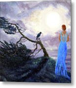 Bent Cypress And Blue Lady Metal Print