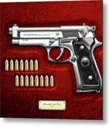 Beretta 92fs Inox With Ammo On Red Velvet  Metal Print