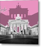 Berlin Brandenburg Gate - Graphic Art - Pink Metal Print
