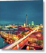 Berlin City At Night Metal Print
