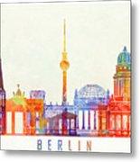 Berlin Landmarks Watercolor Poster Metal Print