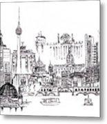 Berlin Medley Monochrome Metal Print