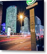 Berlin - Potsdamer Platz Square At Night Metal Print