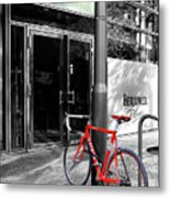Berlin Street View With Red Bike Metal Print