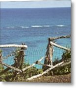 Bermuda Fence And Ocean Overlook Metal Print