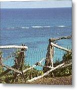 Bermuda Fence And Ocean Overlook Metal Print