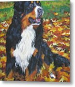 Bernese Mountain Dog Autumn Leaves Metal Print