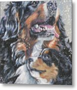 Bernese Mountain Dog With Pup Metal Print
