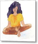 Berni Meditating Metal Print